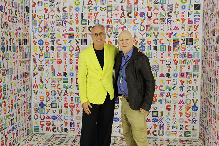 Peter Frank and artist Marini in the ALPHACUBE at LA Art Show 2020